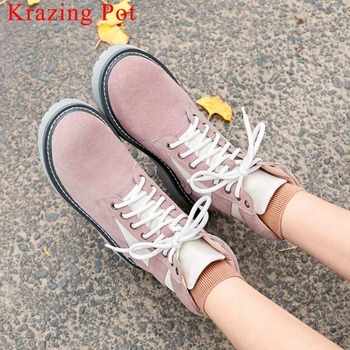 2019 european designer natural leather low heels round toe lace up british school vintage new fashion solid mid-calf boots L22