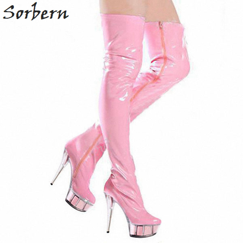 Sorbern Pink Shiny Sexy Fetish High Heel Boots For Women Clear Platform Pvc Heels Thigh High Boots Zippers Size 12 Women Shoes