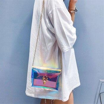 Women Laser Crossbody Bag Messenger Shoulder Bag PVC Jelly Small Tote Messenger Bags Laser Holographic Lady