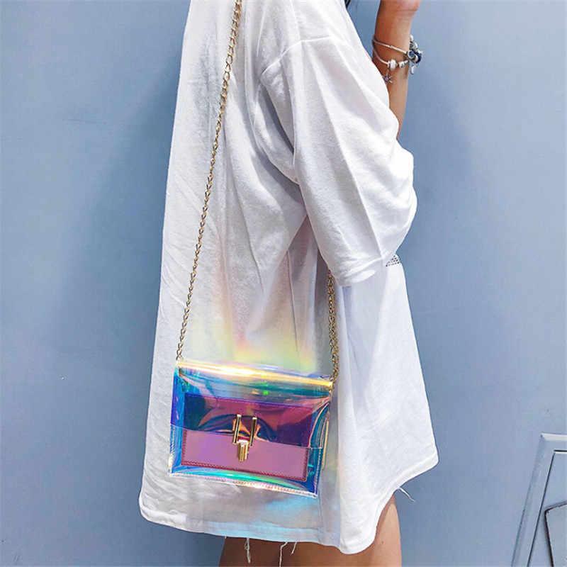 Женская Лазерная сумка через плечо ПВХ Желе маленькая сумка через плечо сумки Блестки для ногтей леди