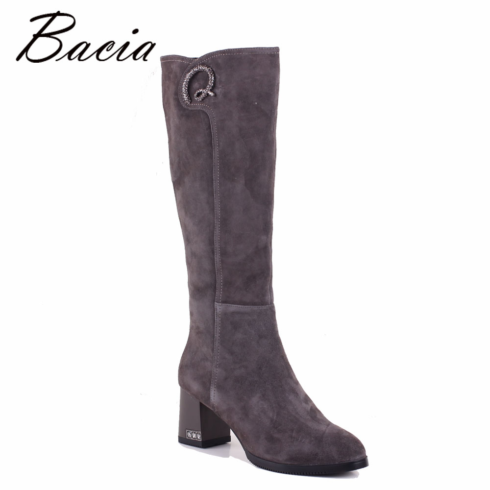 Bacia Grey Sheep Suede Boots Crystal Round Toe 6.5cm Heels Genuine Leather Shoes Warm Wool Fur Short Plush Boot Size 35-40 SB059