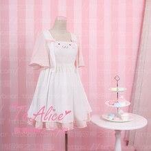 Очень милое платье лолиты для девочек с ушастым кроликом и кроликом летнее короткое шифоновое платье с короткими рукавами розового и белого цвета