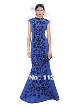 Oscar 2017 Neue Ankunft Bule Kappen-hülsen Mermaid Promi Kleid Schwarz Appliques Dünnen Schnitt Taft Abendkleid Benutzerdefinierte