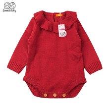 Emmaaby/Повседневные зимние свитера для маленьких девочек; одежда; Однотонный костюм для новорожденных мальчиков; теплый вязаный шерстяной свитер с длинными рукавами