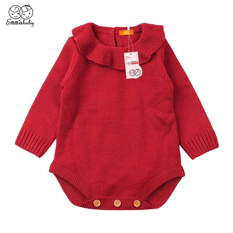 Emmababy Casual Baby Girl Winter Sweaters Clothes Solid Color Outfits Newborn Baby Boys Long Sleeve Warm Knitted Woolen Sweater casual long sleeve v neck solid color sweater