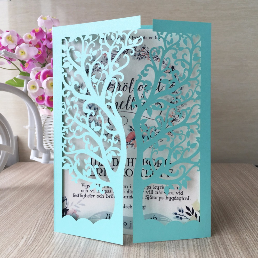 50pcs Lot Chagne Vine Tree Business Party Event Birthday Red Tiffany Blue Love Birds Wedding Invitations Jess Pearl Bensen
