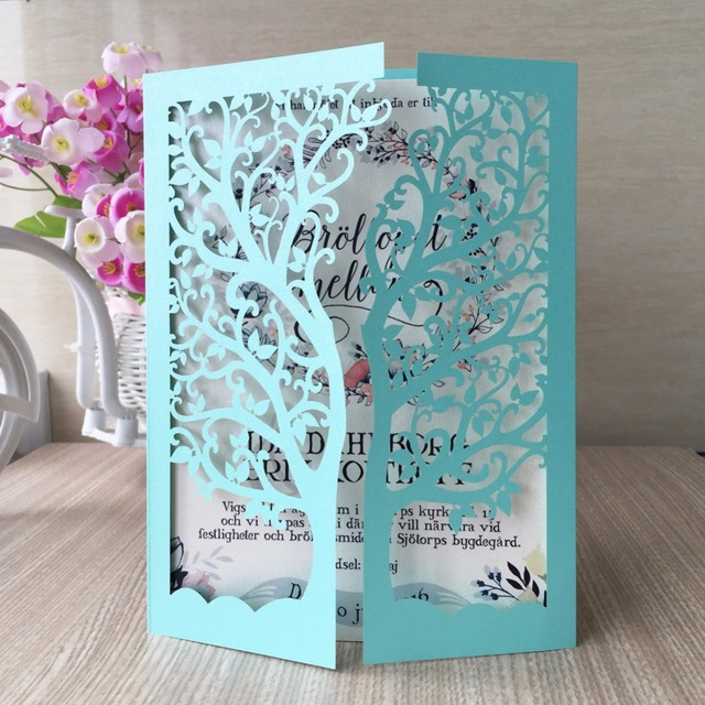 50pcs Lot Champagne Vintage Tree Business Party Event Birthday Card Laser Cut Tiffany Blue Red Gold Wedding Invitation