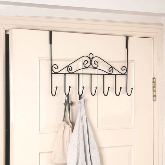 1PC Coat Clothes Hat Bag Towel Over Door Bathroom Hanger Hanging Rack  Holder 7Hooks Free Shipping