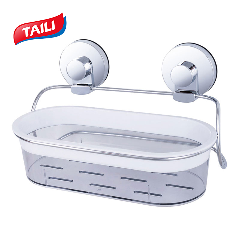 TAILI Chrome Bathroom Shelves No Drilling Strong Suction Hook Bathroom Accessories