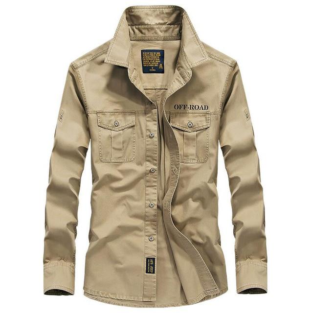 Koszula męska z długim rękawem camisa społeczne wojskowe 100% bawełniane koszule marki wiosna jesień armia skręcić w dół kołnierz 4xl koszule odzież