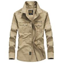 Men shirt long sleeve camisa social military 100% cotton shirts brand spring autumn army turn down collar 4xl shirts clothing