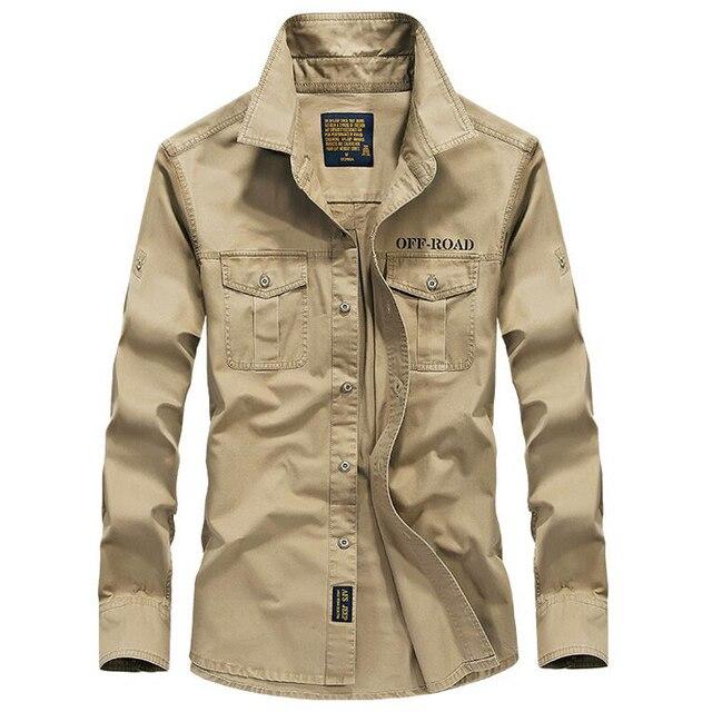 Uomini camicia a maniche lunghe camisa sociale militare 100% camicie di cotone di marca di autunno della molla esercito girare giù il collare 4xl camicie abbigliamento