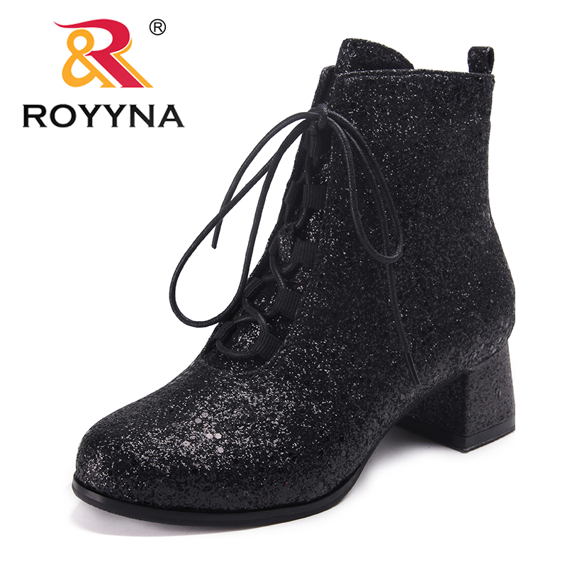 ROYYNA New Classics Style Women Boots Round Toe Women Winter Shoes Lace Up Lady Ankle Boots Comfortable Light Fast Free Shipping women ankle boots 2016 round toe autumn shoes booties lace up black and white ladies short 2017 flat fashion female new chinese