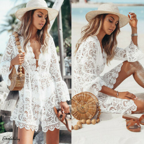 2019 New Summer Women Bikini Cover Up Floral Lace Hollow Crochet Swimsuit Cover-Ups Bathing Suit Beachwear Tunic Beach Dress Hot 2