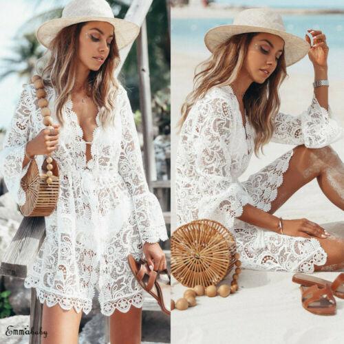 2020 New Summer Women Bikini Cover Up Floral Lace Hollow Crochet Swimsuit Cover Ups Bathing Suit Beachwear Tunic Beach Dress Hot