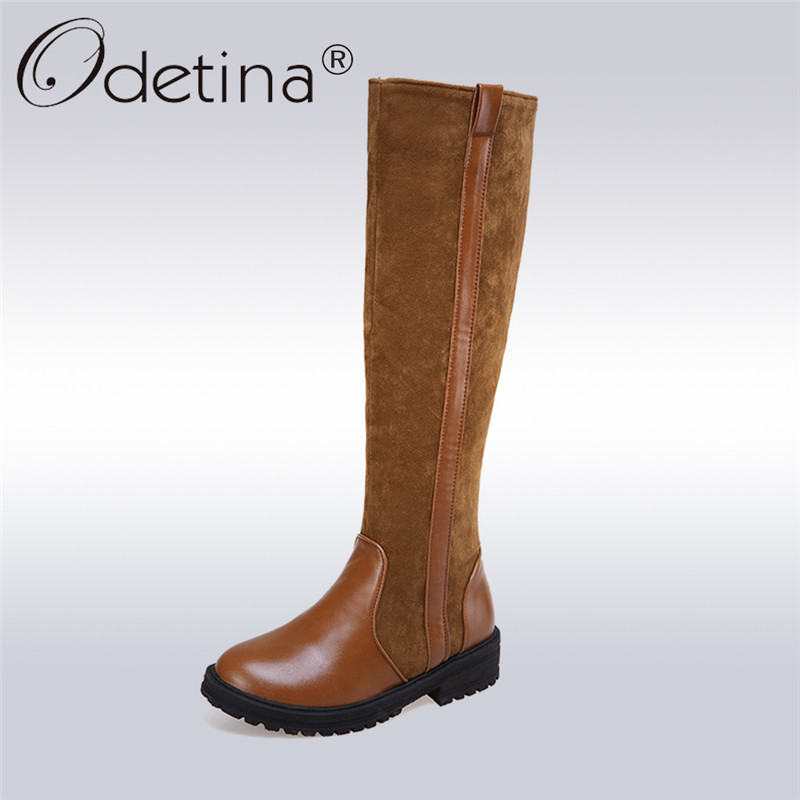 купить Odetina 2017 New Fashion Faux Suede Womens Riding Boots Low Heel Slip on Knee High Boots Platform Winter Warm Shoes Plus Size 43 дешево
