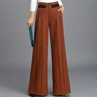 2018 новые шерстяные широкие брюки женские плиссированные шерстяные прямые драпированные длинные брюки уличная одежда Harajuku брюки женские