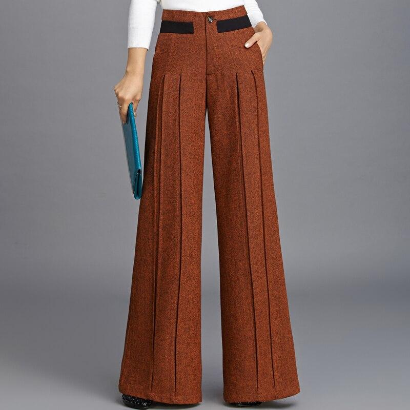 2018 New Wool   Wide     Leg     Pants   Female Pleated Wool Straight Draping Long   Pants   Streetwear Clothes Harajuku Trousers Women