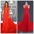 2016 Real Imagem Red Carpet A Linha Halter Vestido Custom made Vestido de Chiffon Capela Trem Vestidos de Baile Vermelho Vestidos de Celebridades