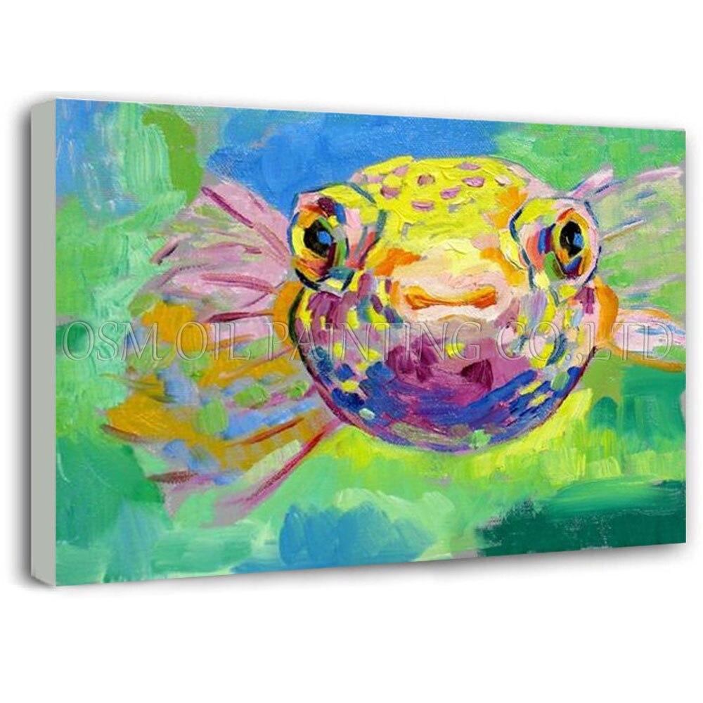 Fabricant en gros pas cher prix peint à la main bouffant peinture à l'huile sur toile drôle Animal spécial poisson bouffant peinture à l'huile