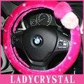 """Ladycrystal Bling Bling Diamante de Cristal Rhinestone Tampa Da Roda de Direcção Para BMW Série Volante Cobre Quente de Pelúcia Macia 15"""""""