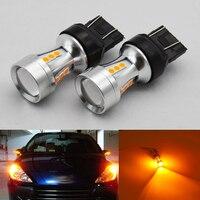 2pcs 7443 7440 Led Car Bulbs WY21W 18W 18SMD 3030 Amber W21 5W High Power Lamp