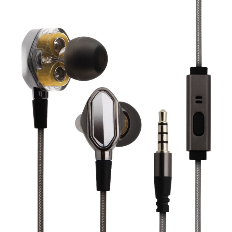 Double Dynamic Earphone G2 Bass in-ear Hifi Stereo Headset with Mic Metal DJ Rock Rap Music Earbuds for Phone MP3 MP4 Computer