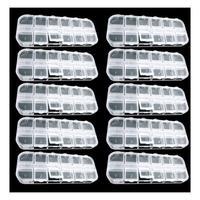10 Pcs 12 Empty Divided Plastic Box Case Set Nail Art Decoration Rhinestone New