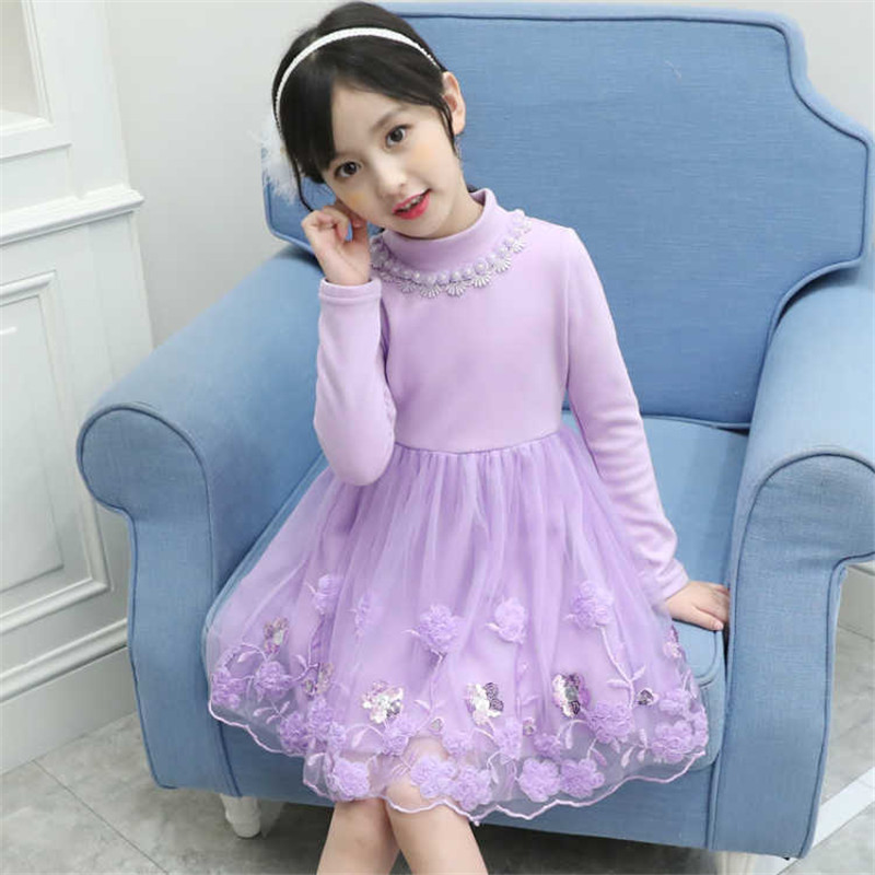Floral Princess Dress Baby Girl 2018 New Winter Thick Cotton Kids Wedding Dresses For Girls Velvet Lace Children Clothing 3ds298 children dress winter korean girls princess gold lace dress cotton kids clothing flowers hollow mesh