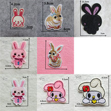 Cute Cartoon iron on patches Rabbit Animal thermo-stickers DIY Clothes Applique Badge Decorate Jacket bag hat embroidery Stripes(China)