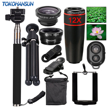 TOKOHANSUN 10 In 1 Universal Phone Camera 12X Zoom Lens For Smartphone Telephoto Lens Wide Angle FishEye Macro Tripod for iPhone