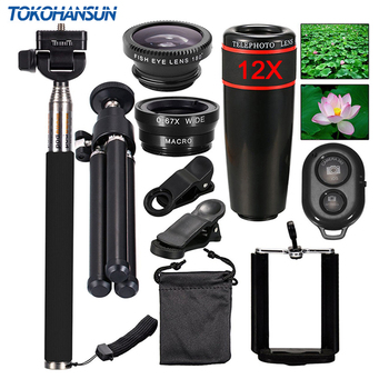 TOKOHANSUN 10 In 1 Universal Phone Camera 12X Zoom Lens For Smartphone Telephoto Lens Wide Angle FishEye Macro Tripod for iPhone