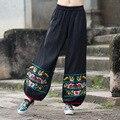 Nueva Llegada del otoño Sueltan Los Pantalones Del Harem de Las Mujeres Más Tamaño Mediados de Cintura de los Pantalones Holgados Pantalones de Algodón de Lino Natural Negro