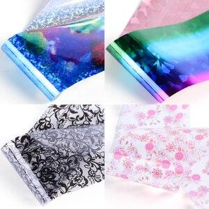 Image 2 - 50pc Holographische Nagel Folie Bunte Mix Design Laser Starry Papier Transfer Aufkleber Sliders Für Nail art Dekoration Decals JI921