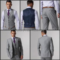 2016 Feitos Side Slit Dois Botões Light Grey Noivo Smoking Notch Lapela Best Man Groomsmen Homens Ternos Jaqueta + calça + Colete + Gravata