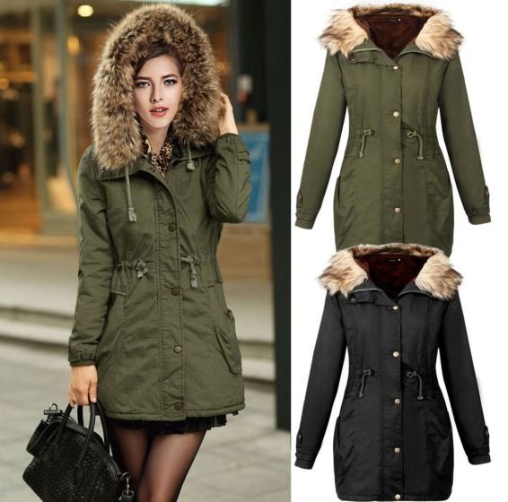 Woman Army Green Artificial Fur Collar Thickening Long Sleeve Parkas Hooded Cotton Inside Jacket Winter Coats Outwear
