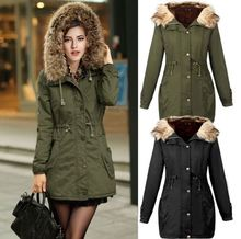 Woman Army Green Artificial Fur Collar Thickening Long Sleeve Parkas Hooded Cotton Inside Jacket Winter Coats Outwear army green loose fit hooded outwear