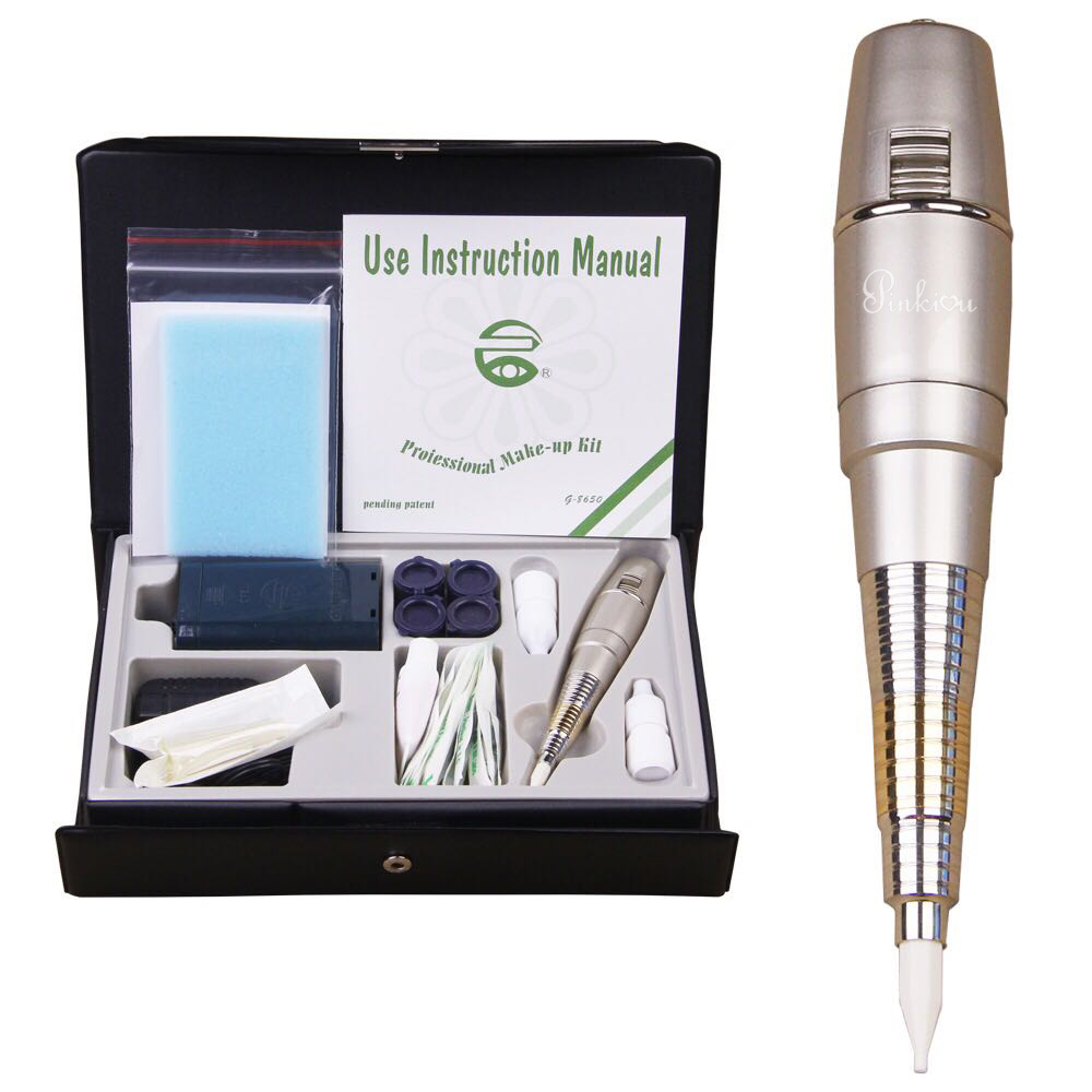 Pro Permanent MakeUp Tattoo Machine Pen For Eyebrows Forever Make Up GS Microblading Tattoo Kit With Needles Ink Power Supply  недорого