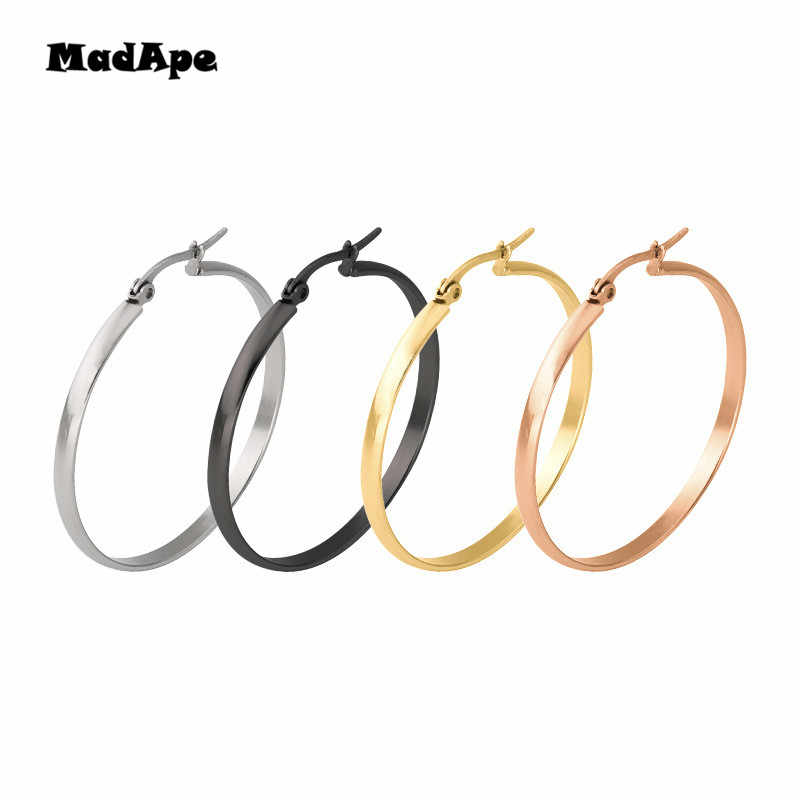 MadApe Anti Allergic Stainless Steel Large Hyperbole Earrings Wide Edge Hoop Earrings Round Circle Earrings Nightclub Jewelry