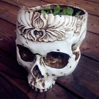 Смола готический череп голова плетеная корзина-горшок для цветов контейнер домашний бар декоративное украшение