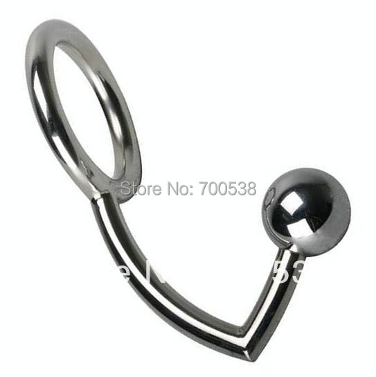 Male Chastity Cock Lock + Anal Plugs /cock Intruder with Ball /male Metal Hook Ring Alternative Sex Toys