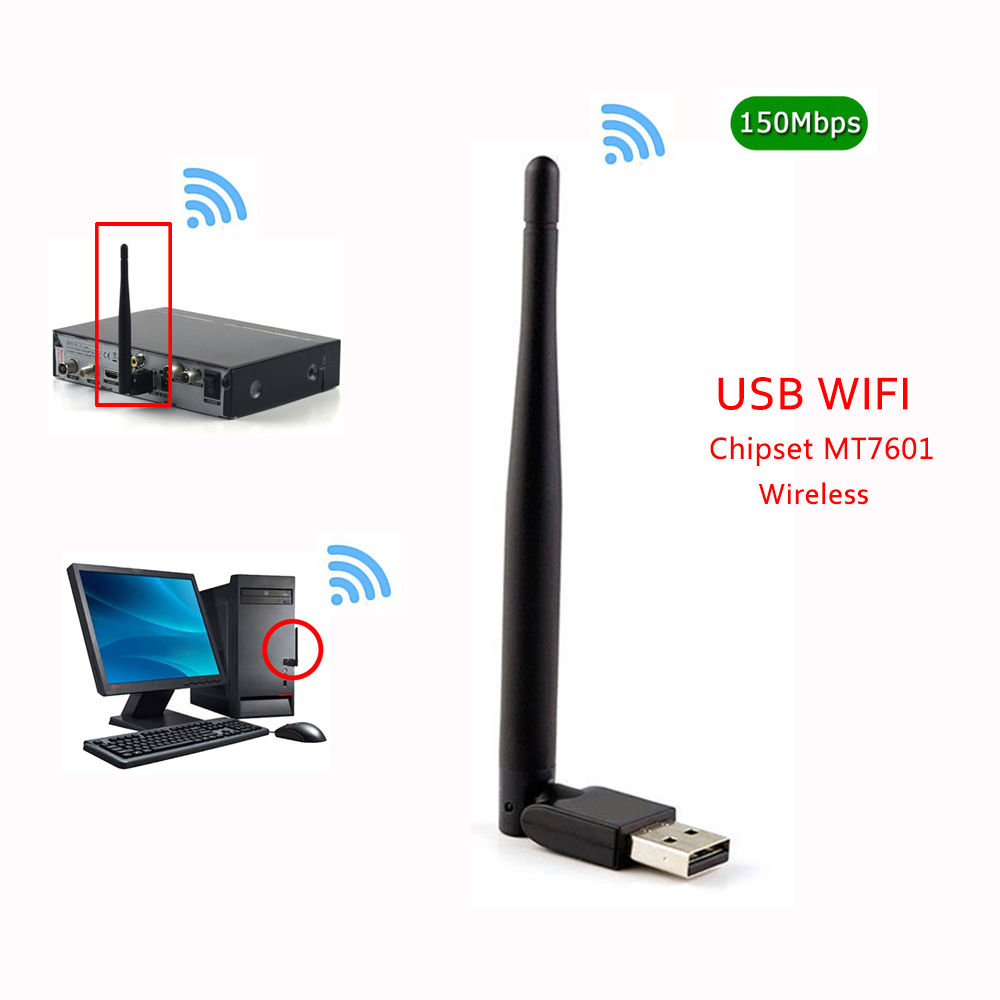 Vamde usb wifi dongle Ralink 7601 adapter 150mbps high gain 2dbi wifi smart antenna connector receiver