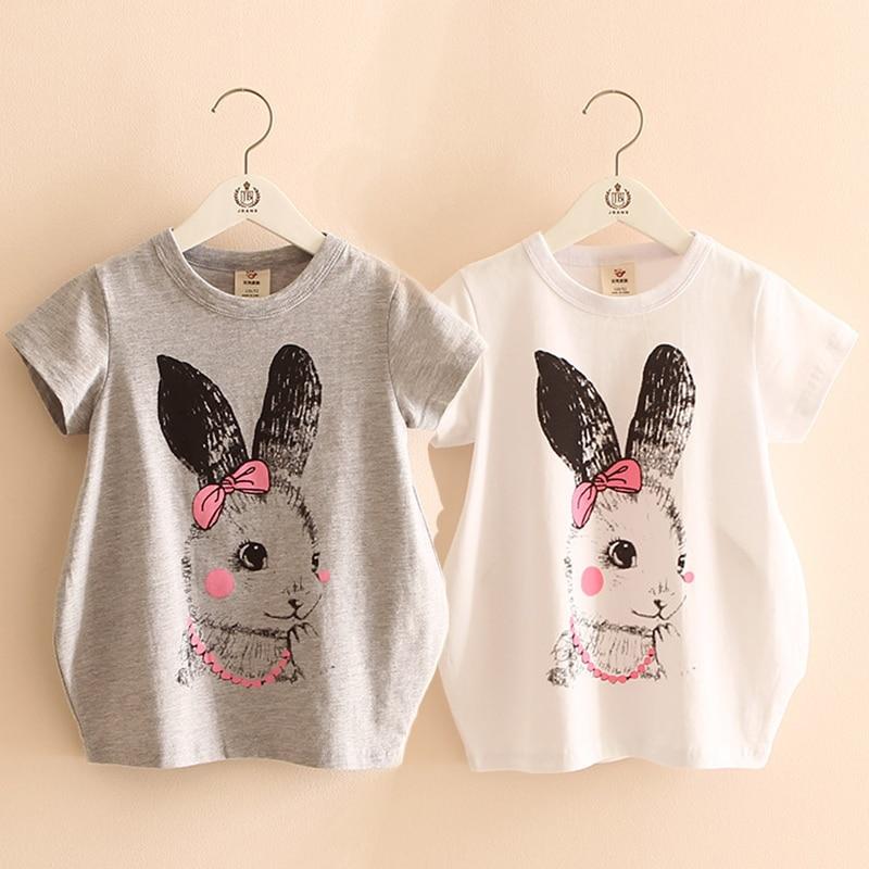 2018 Heißen Sommer Weibliche Kinder Baumwolle Weiß Grau Baby Kind Lange Design Kaninchen Print Kurzarm Kinder Mädchen Lose T-shirt