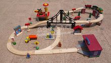 70PCS beech wooden train track scene oversized with Bridgecompatible Thoma s IKE A