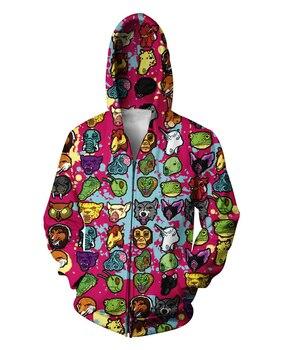 Hotline Miami Zip-Up Hoodie Cartoon Animal Emoji 3D Print Hoodies Sweatshirts Unisex Women Men  Tops Jumper Coats Outfits hoodie