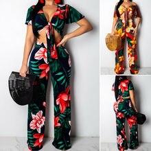 2PC Fashion Women Floral V-Neck Crop Top+Stretch Wide Leg Trousers Pants Casual