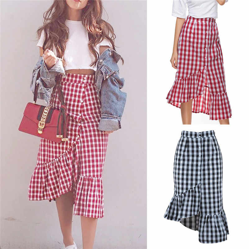 Nouveau mode Style 2019 été jupes femmes Plaid décontracté à volants bouton partie fente taille haute mi-mollet jupe Femme Saia Y18