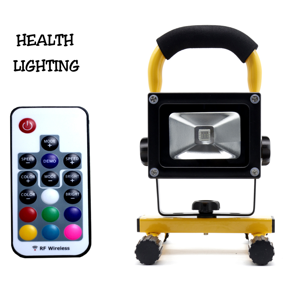 10W RGB LED Rechargeable Floodlights with RF Remote Control led rgb flood light color changing outdoor led flood light icoco waterproof led flood light 30w rgb color changing outdoor remote control 3000lm