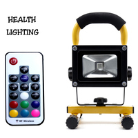 10W RGB LED Rechargeable Floodlights with RF Remote Control led rgb flood light color changing outdoor led flood light