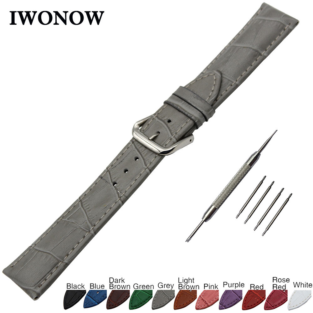 Croco Genuine Leather Watch Band 22mm for Ticwatch 1 46mm Stainless Steel Buckle Strap Wrist Belt Bracelet + Spring Bar + Tool stainless steel watch band 22mm for movado strap wrist loop belt bracelet black silver spring bar tool